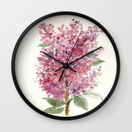 Pink Lilacs Floral Watercolor Garden Flower Nature Art Wall Clock