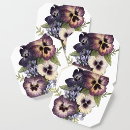 Watercolor Pansy Bouquet Coaster