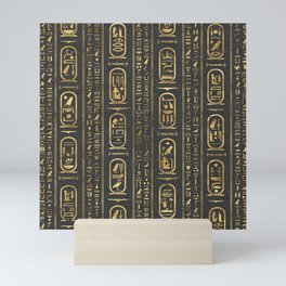 Egyptian hieroglyphs Gold on Leather Mini Art Print