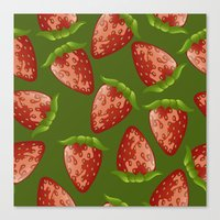strawberry Canvas Prints featuring Strawberry by Julia Badeeva