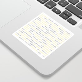Yellow Photography Keywords Sticker