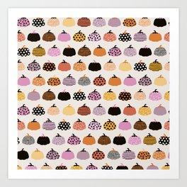 Halloween colorful indian summer pumpkin picking garden pink orange girls Art Print