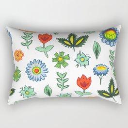 Fun Folk Floral Pattern Rectangular Pillow