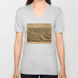 Aerial View of South Bend, Indiana (1874) Unisex V-Neck