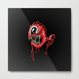 Red Fang Deep Sea Fish Face Metal Print