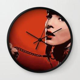Red Lips - bondage, bdsm fantasy, kinky beauty on leash, sexy brunette slave girl, adult NSFW erotic Wall Clock