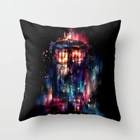 tardis Throw Pillows featuring All of Time and Space by Alice X. Zhang