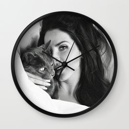La-na Del Rey with Cat, Stylish print, music icon , gift for her, Print, Poster, Wall Clock