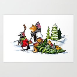 Bear and Penguin Family Tree Outing Art Print