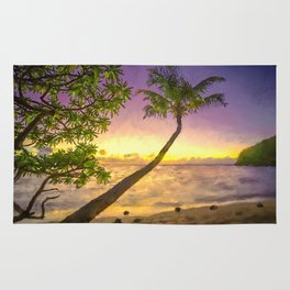 Tropical sunset beach with palms Rug