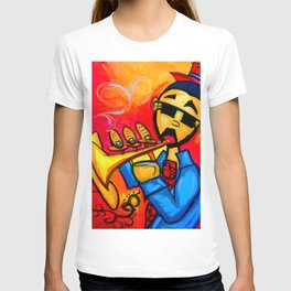 Musician against red background with blue piano keys T-shirt