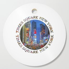 Times Square Broadway (New York Badge Emblem on white) Cutting Board