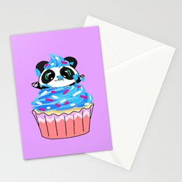 A Panda Popping out of a Cupcake Stationery Cards