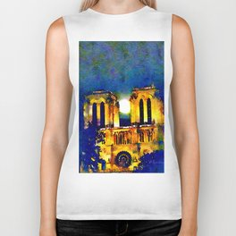 Notre Dame de Paris Full Moon Biker Tank