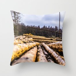 Poltery Site (Wood Storage Area) After Storm Victoria Möhne Forest 6 Throw Pillow