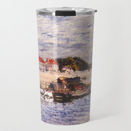 Alfred Sisley - Barges on the Loing at Saint-Mammès (1885) Travel Mug