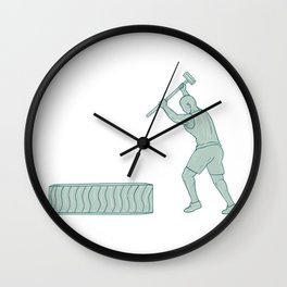 Fitness Athlete Sledge Hammer Striking Tire Drawing Wall Clock