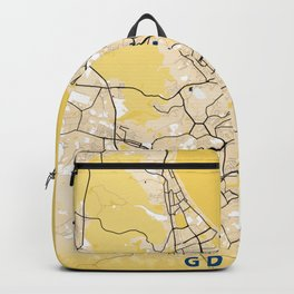 Gdansk Yellow City Map Backpack