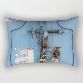Old blue door Rectangular Pillow