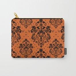 Vintage black orange halloween floral damask Carry-All Pouch