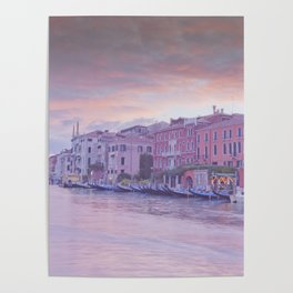 Venice in pastel, pink soft fluffy clouds over Venice, Italy Poster