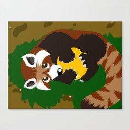 Red Panda Yellow Ball Canvas Print