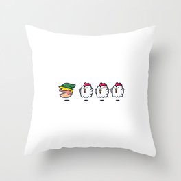 Chased By Chickens Throw Pillow