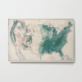 1883 USA Map of Density of Forests Metal Print