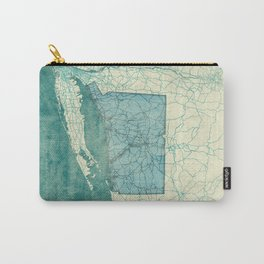 Connecticut State Map Blue Vintage Carry-All Pouch