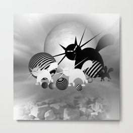 dreaming of mooncats bw -4- Metal Print