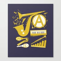 jazz Canvas Prints featuring Jazz by Veronica S
