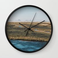 iceland Wall Clocks featuring Iceland by Chelle Wootten