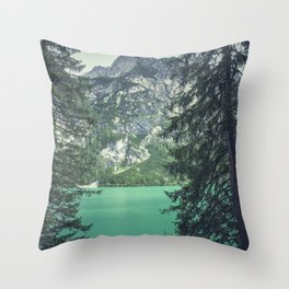 Dolomites Mountains Through Trees Throw Pillow