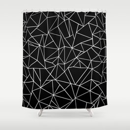 Abstraction Outline Black and White Shower Curtain