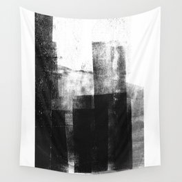 Black White Grey Abstract Monotype Wall Tapestry