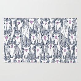 unicorn love navy orchid Rug