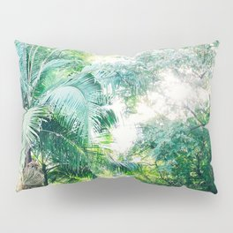 Lost in the jungle bright green tropical palm tree forest photography Pillow Sham