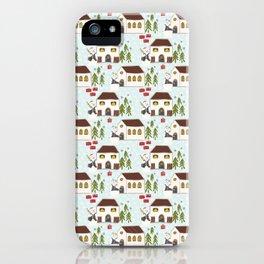 Festive Winter Snowman Village Seamless Christmas Xmas iPhone Case