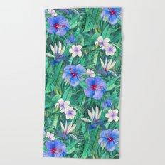 White Bird of Paradise & Blue Hibiscus Tropical Garden Beach Towel