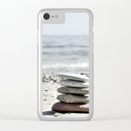 Balancing Stones On The Beach Clear iPhone Case