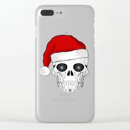 Christmas skull Santa design Clear iPhone Case