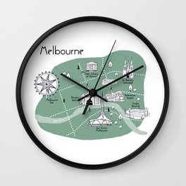 Mapping Melbourne - Green Wall Clock