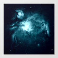 nebula Canvas Prints featuring Orion nebula : Teal Galaxy by 2sweet4words Designs