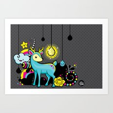 Kawaii Deer Art Print