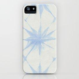 Shibori Starburst Sky Blue on Lunar Gray iPhone Case