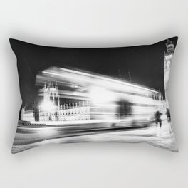 Bus passing Westminster B&W Rectangular Pillow
