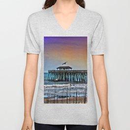 Myrtle Beach State Park Pier - Photo as Digital Paint Unisex V-Neck