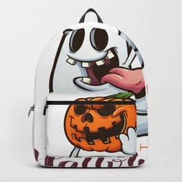 Drawn Ghosts And Pumpkins Set, Happy Halloween, Design No 01 Backpack