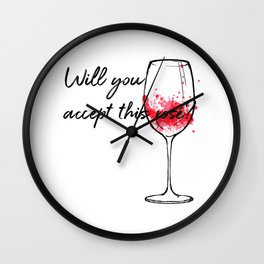 Will You Accept This Rose Charming Proposal Design Wall Clock