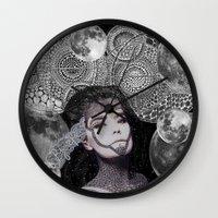 bjork Wall Clocks featuring Bjork by Luna Portnoi